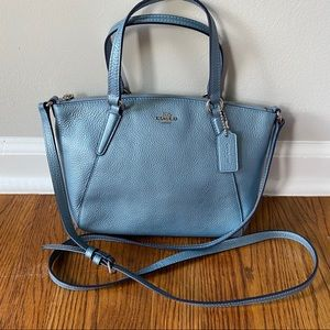 Coach Mini Kesley Metallic Pool Blue Satchel